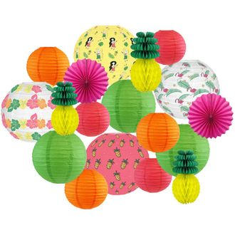 Decorative Round Chinese Paper Lanterns -Tropical Collection (18pcs, Totally Tropical) - Premier