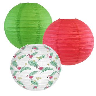 Decorative Round Chinese Paper Lanterns -Tropical Collection (3pcs, Flamingo Palms) - Premier