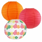 Decorative Round Chinese Paper Lanterns -Tropical Collection (3pcs, Hawaiian Vibes) - Premier