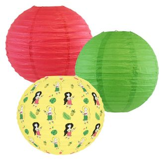 Decorative Round Chinese Paper Lanterns -Tropical Collection (3pcs, Hula Party) - Premier