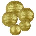 Decorative Round Gold Chinese Paper Lanterns (Assorted Sizes: (2) 8inch, (2) 12inch, (1) 16inch) - Premier