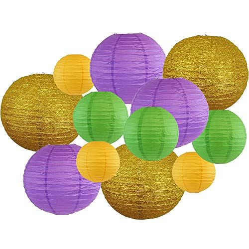 Decorative Round Mardi Gras Paper Lanterns 12pcs Assorted Sizes & Colors (Color: Beads & Bling) - Premier