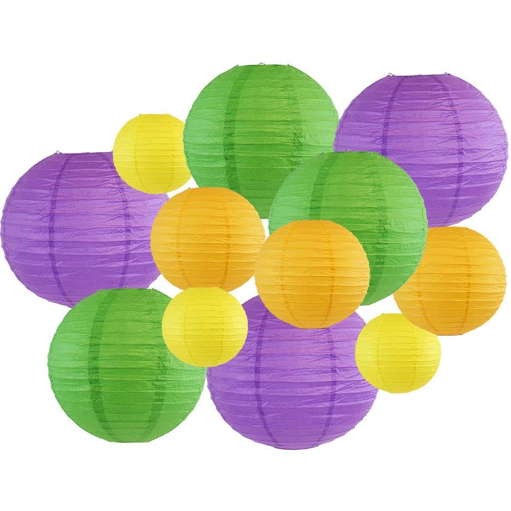 Decorative Round Mardi Gras Paper Lanterns 12pcs Assorted Sizes & Colors (Color: Bourbon Street) - Premier