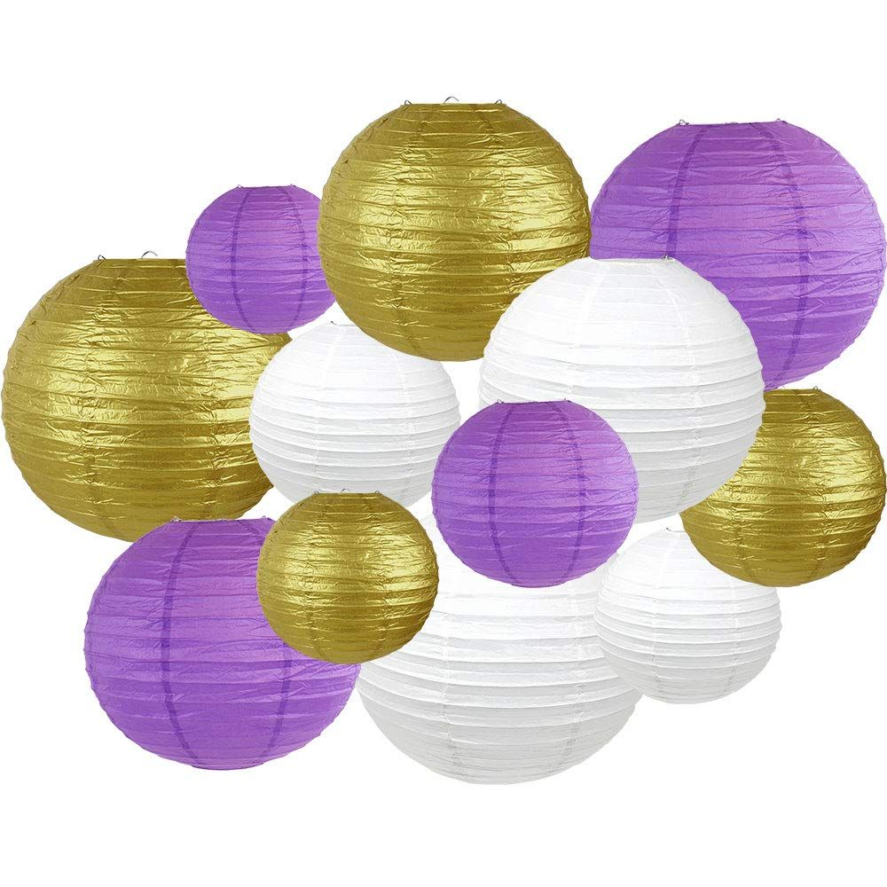 Decorative Round Mardi Gras Paper Lanterns 12pcs Assorted Sizes & Colors (Color: Carnival Vibes) - Premier