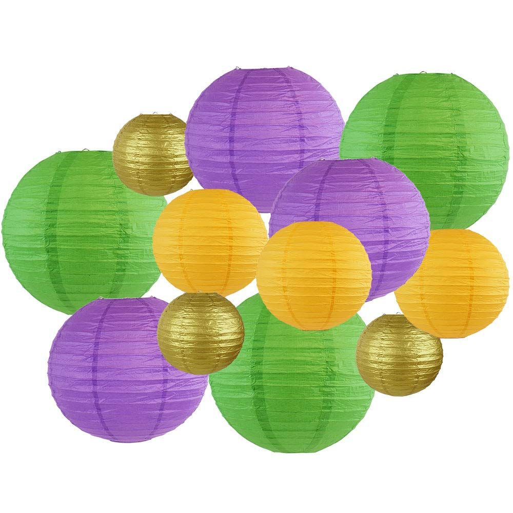 Decorative Round Mardi Gras Paper Lanterns 12pcs Assorted Sizes & Colors (Color: Fat Tuesday) - Premier