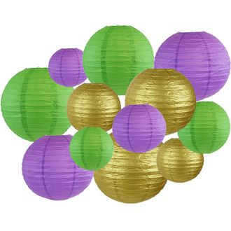 Decorative Round Mardi Gras Paper Lanterns 12pcs Assorted Sizes & Colors (Color: French Quarter) - Premier