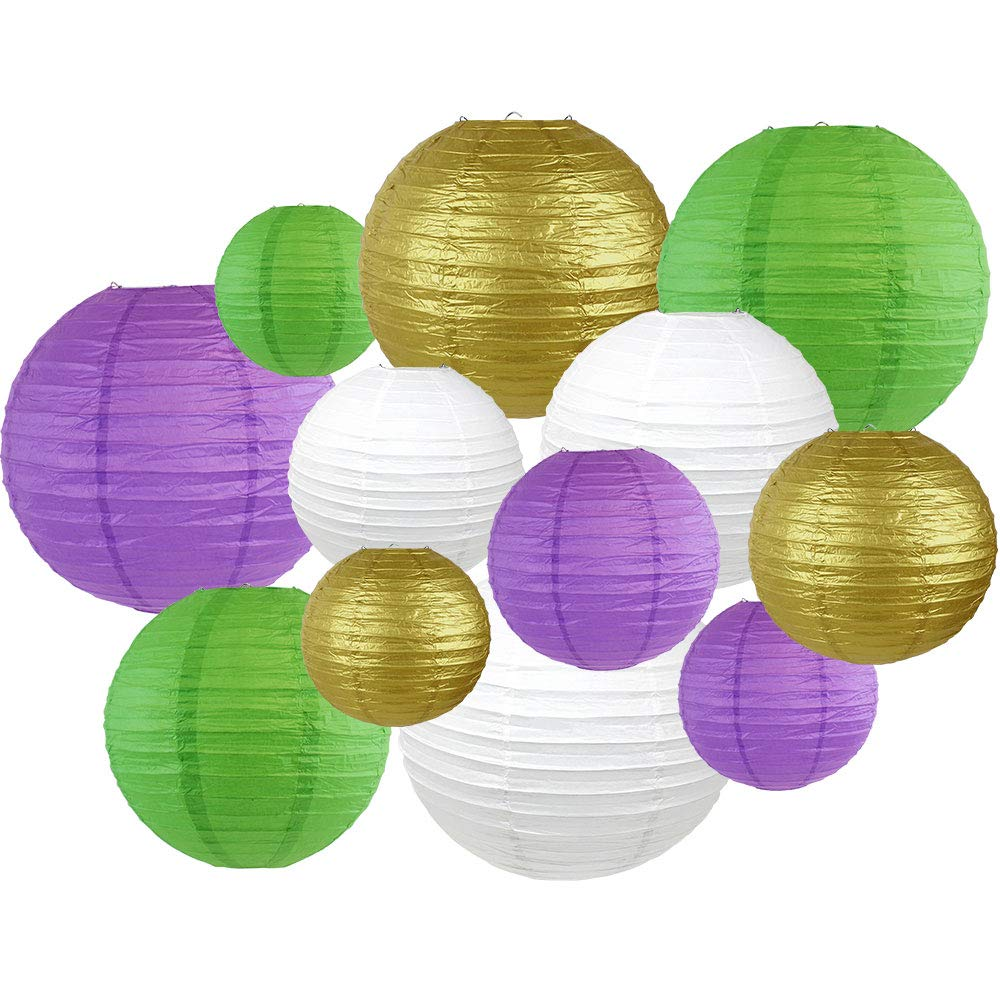 Decorative Round Mardi Gras Paper Lanterns 12pcs Assorted Sizes & Colors (Color: Get Jazzy) - Premier
