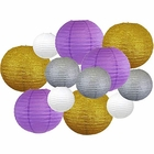 Decorative Round Mardi Gras Paper Lanterns 12pcs Assorted Sizes & Colors (Color: Glitter Pride) - Premier