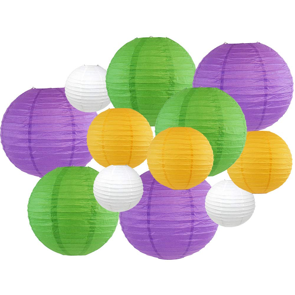 Decorative Round Mardi Gras Paper Lanterns 12pcs Assorted Sizes & Colors (Color: King Cake) - Premier