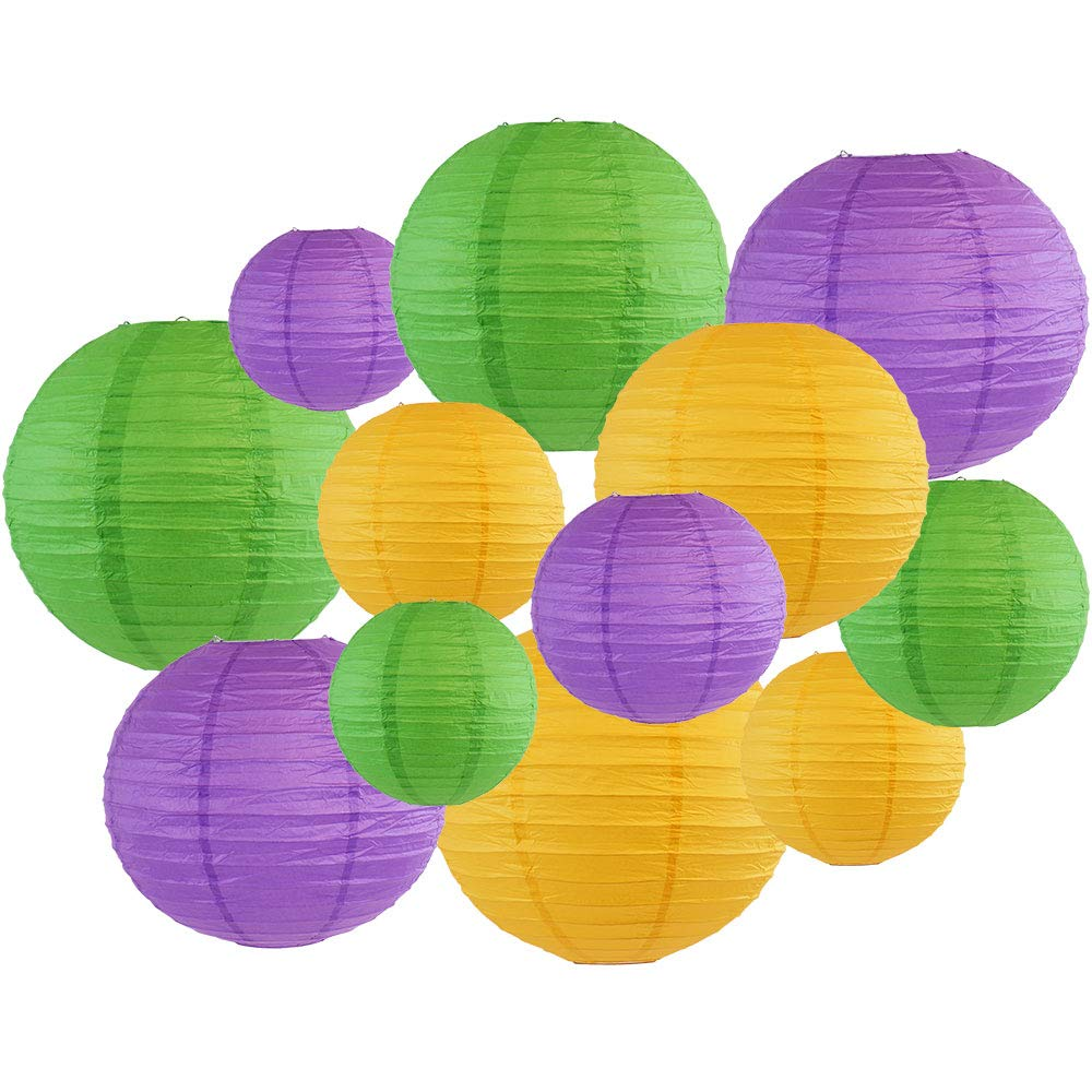 Decorative Round Mardi Gras Paper Lanterns 12pcs Assorted Sizes & Colors (Color: Mardi Gras) - Premier