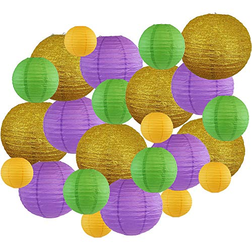 Decorative Round Mardi Gras Paper Lanterns 24pcs Assorted Sizes & Colors (Color: Beads & Bling) - Premier