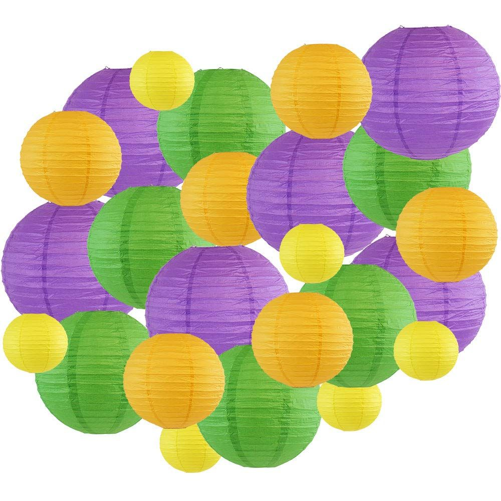 Decorative Round Mardi Gras Paper Lanterns 24pcs Assorted Sizes & Colors (Color: Bourbon Street) - Premier