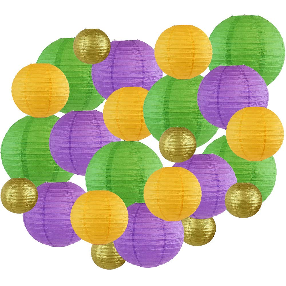 Decorative Round Mardi Gras Paper Lanterns 24pcs Assorted Sizes & Colors (Color: Fat Tuesday) - Premier