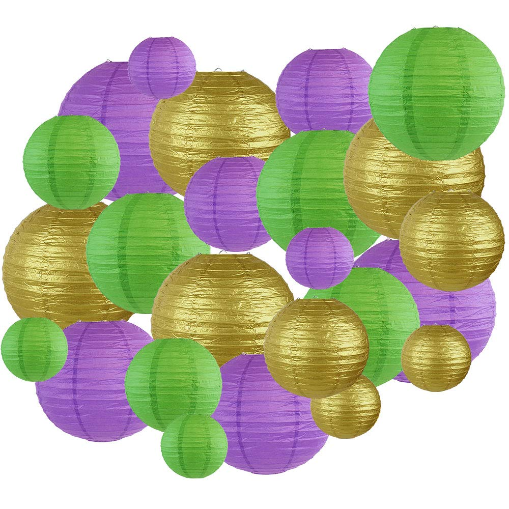 Decorative Round Mardi Gras Paper Lanterns 24pcs Assorted Sizes & Colors (Color: French Quarter) - Premier