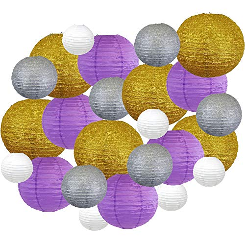 Decorative Round Mardi Gras Paper Lanterns 24pcs Assorted Sizes & Colors (Color: Glitter Pride) - Premier