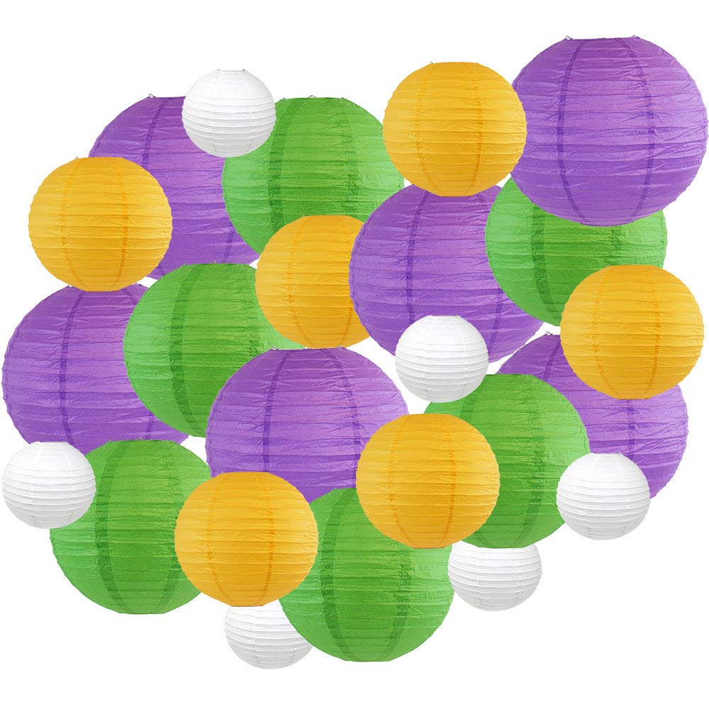 Decorative Round Mardi Gras Paper Lanterns 24pcs Assorted Sizes & Colors (Color: King Cake) - Premier