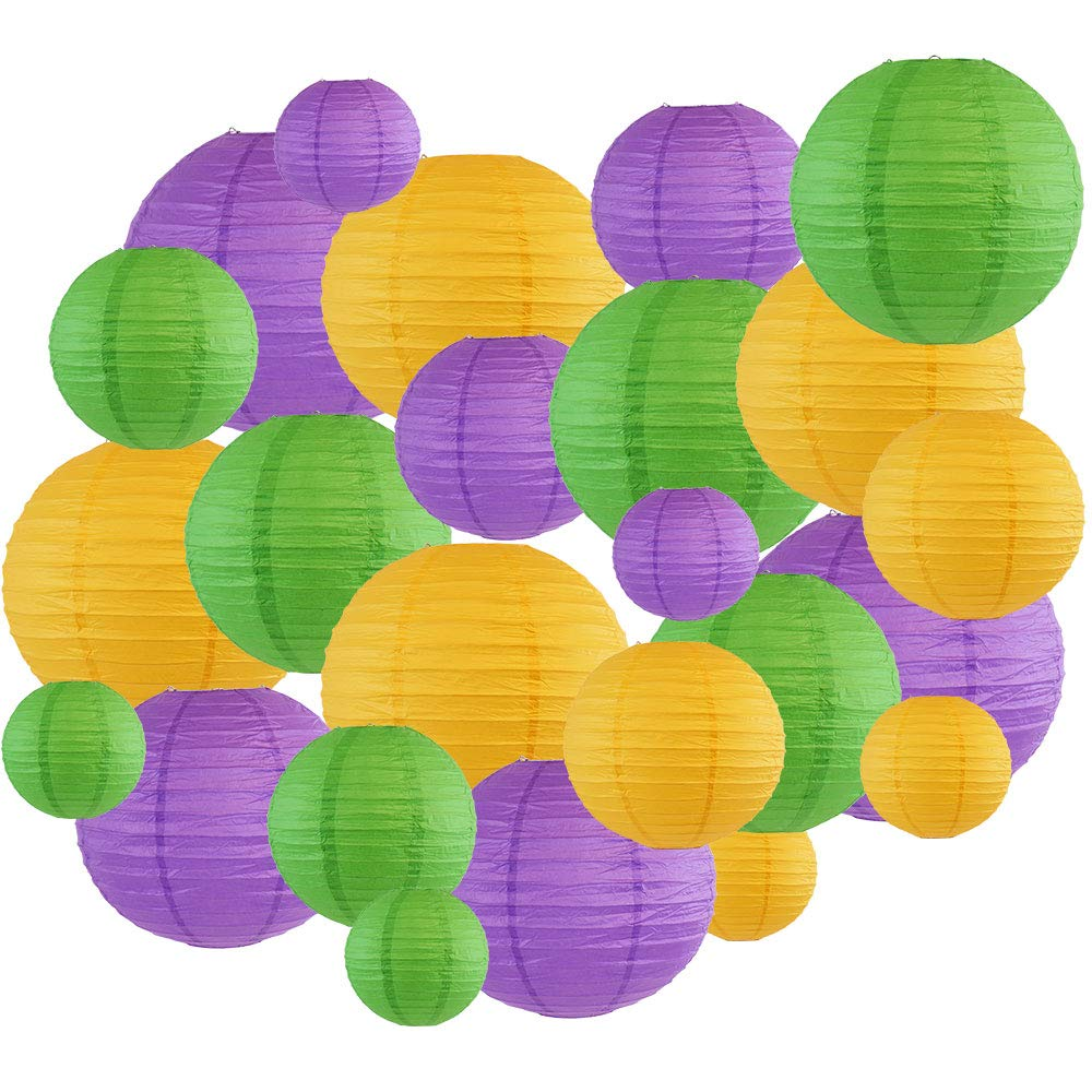 Decorative Round Mardi Gras Paper Lanterns 24pcs Assorted Sizes & Colors (Color: Mardi Gras) - Premier