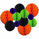Decorative Round Tissue Paper Honeycomb Balls 12pcs Assorted Sizes (Color: Bootiful) - Premier