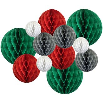 Decorative Round Tissue Paper Honeycomb Balls 12pcs Assorted Sizes (Color: Christmas) - Premier