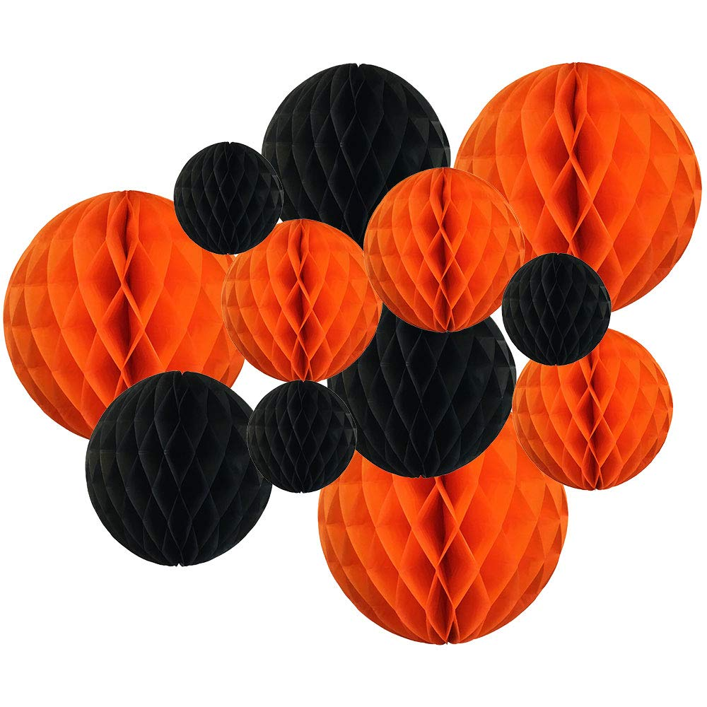 Decorative Round Tissue Paper Honeycomb Balls 12pcs Assorted Sizes (Color: Halloween) - Premier
