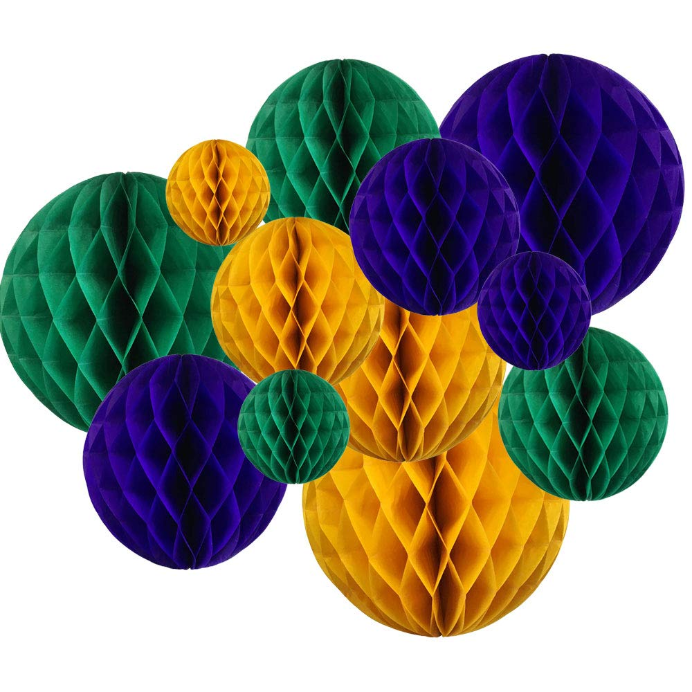 Decorative Round Tissue Paper Honeycomb Balls 12pcs Assorted Sizes (Color: Mardi Gras) - Premier
