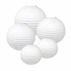 Decorative Round White Chinese Paper Lanterns (Assorted Sizes: (2) 8inch, (2) 12inch, (1) 16inch) - Premier