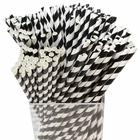 Decorative Striped Paper Straws (250pcs, Striped, Black) - Premier
