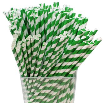 Decorative Striped Paper Straws (250pcs, Striped, Forest Green) - Premier