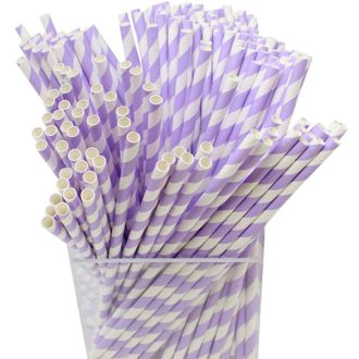 Decorative Striped Paper Straws (250pcs, Striped, Lavender) - Premier