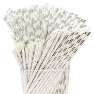 Decorative Striped Paper Straws (250pcs, Striped, Metallic Silver) - Premier
