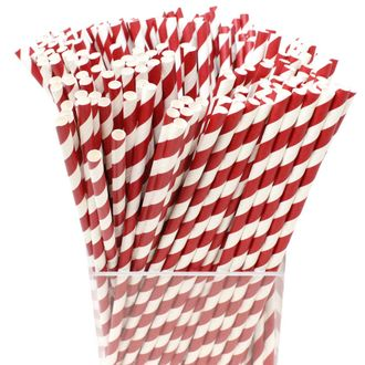 Decorative Striped Paper Straws (250pcs, Striped, Red) - Premier