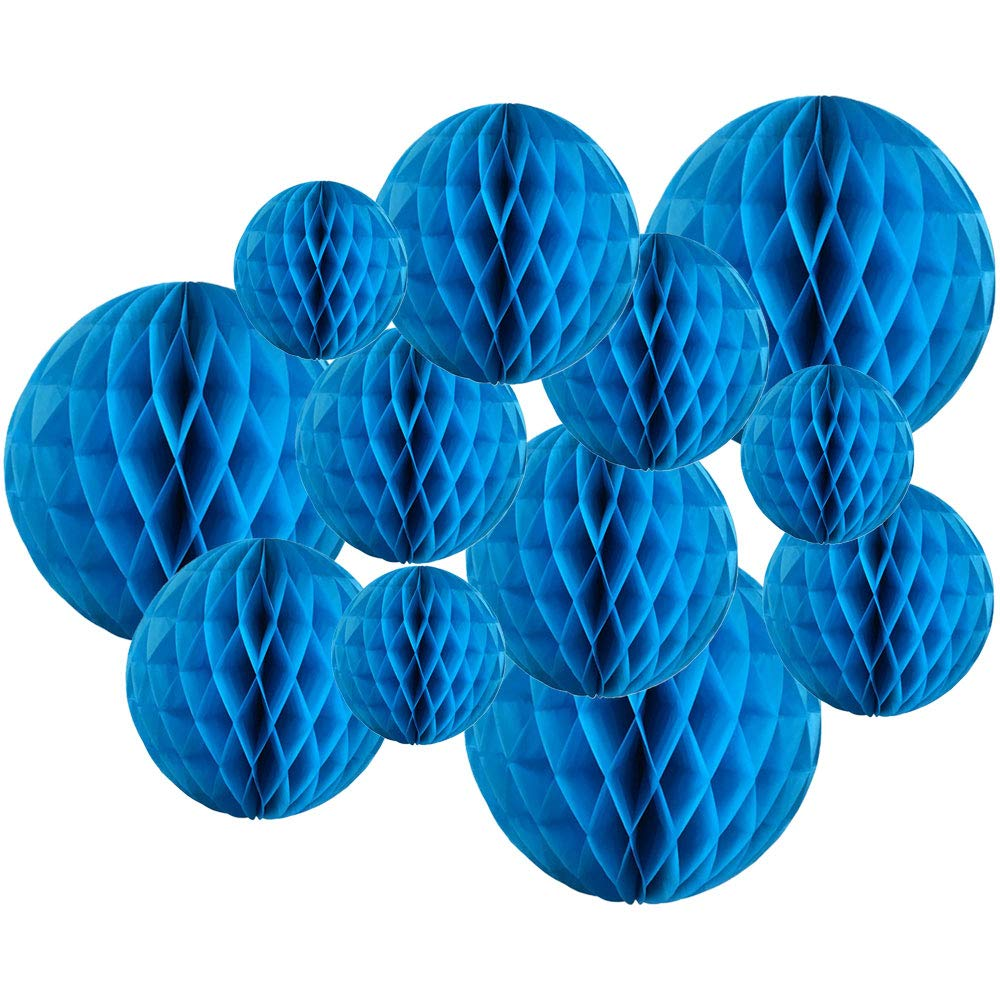 Decorative Tissue Paper Honeycomb Balls 12pcs Assorted Size (Color: Azure Blue) - Premier