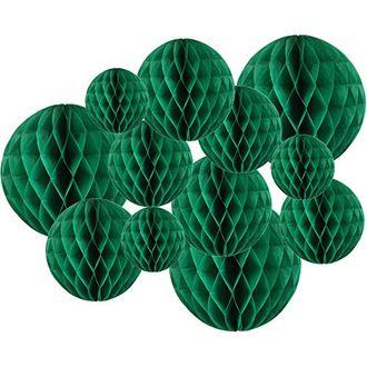 Decorative Tissue Paper Honeycomb Balls 12pcs Assorted Size (Color: Emerald Green) - Premier