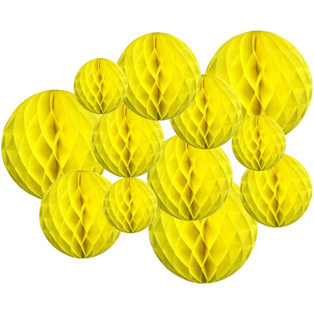 Decorative Tissue Paper Honeycomb Balls 12pcs Assorted Size (Color: Lemon Yellow) - Premier
