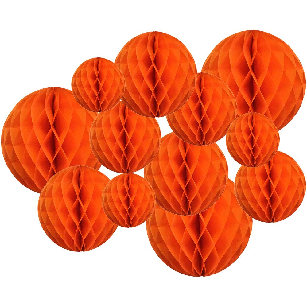Decorative Tissue Paper Honeycomb Balls 12pcs Assorted Size (Color: Orange) - Premier