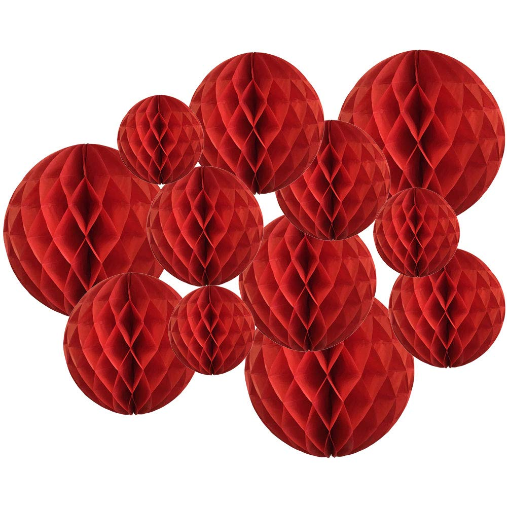 Decorative Tissue Paper Honeycomb Balls 12pcs Assorted Size (Color: Red) - Premier