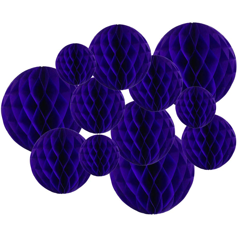 Decorative Tissue Paper Honeycomb Balls 12pcs Assorted Size (Color: Royal Purple) - Premier