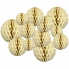 Decorative Tissue Paper Honeycomb Balls 12pcs Assorted Sizes (Color: Ivory) - Premier