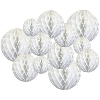 Decorative Tissue Paper Honeycomb Balls 12pcs Assorted Sizes (Color: White) - Premier