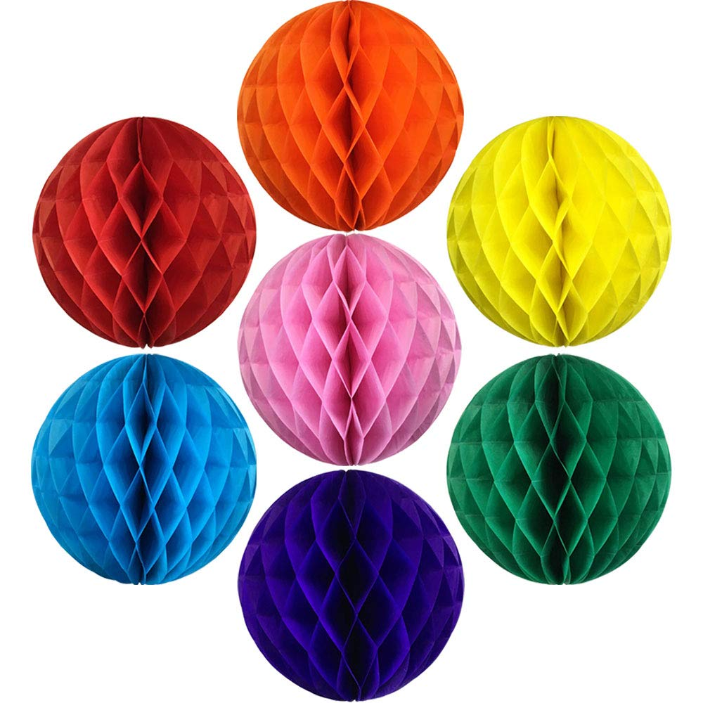 Decorative Tissue Paper Honeycomb Balls Assorted Colors (Set of 7, 4inch) - Premier