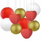 Decorative Valentines Day Round Chinese Paper Lanterns 10pcs Assorted Sizes & Colors (Cupid's Arrow) - Premier