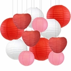 Decorative Valentines Day Round Chinese Paper Lanterns 12pcs Assorted Sizes & Colors (Love) - Premier