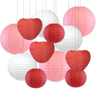 Decorative Valentines Day Round Chinese Paper Lanterns 12pcs Assorted Sizes & Colors (Sweet Kiss) - Premier