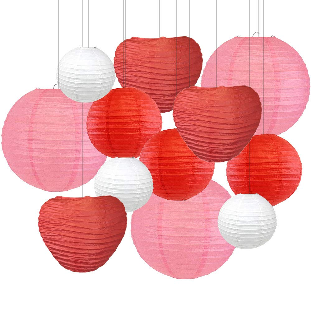 Decorative Valentines Day Round Chinese Paper Lanterns 12pcs Assorted Sizes & Colors (Valentine) - Premier