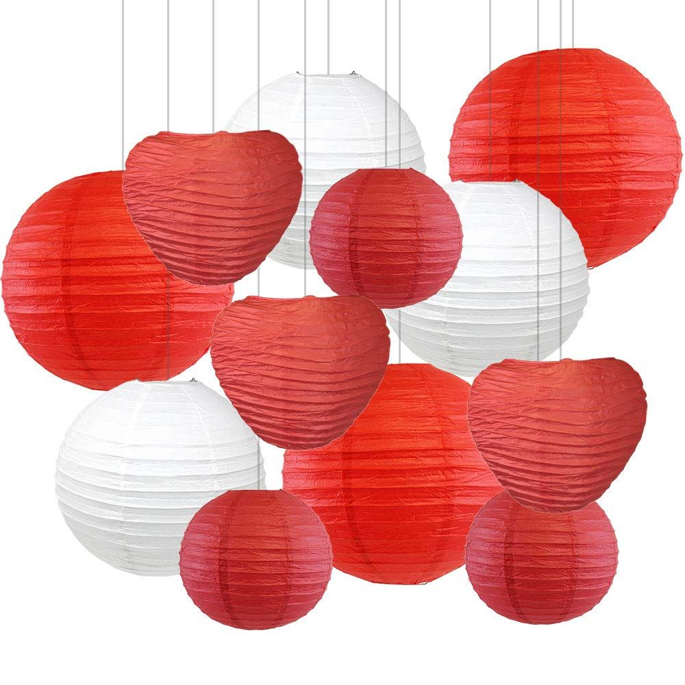 Decorative Valentines Day Round Chinese Paper Lanterns 12pcs Assorted Sizes & Colors (XOXO) - Premier
