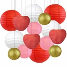 Decorative Valentines Day Round Chinese Paper Lanterns 15pcs Assorted Sizes & Colors (Be Mine) - Premier