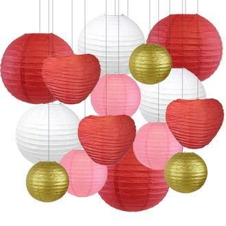 Decorative Valentines Day Round Chinese Paper Lanterns 15pcs Assorted Sizes & Colors (Lovebirds) - Premier