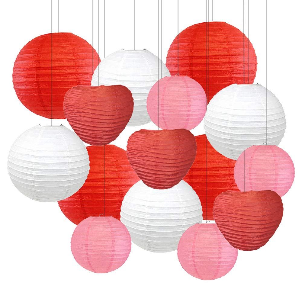 Decorative Valentines Day Round Chinese Paper Lanterns 15pcs Assorted Sizes & Colors (Red Hearts) - Premier