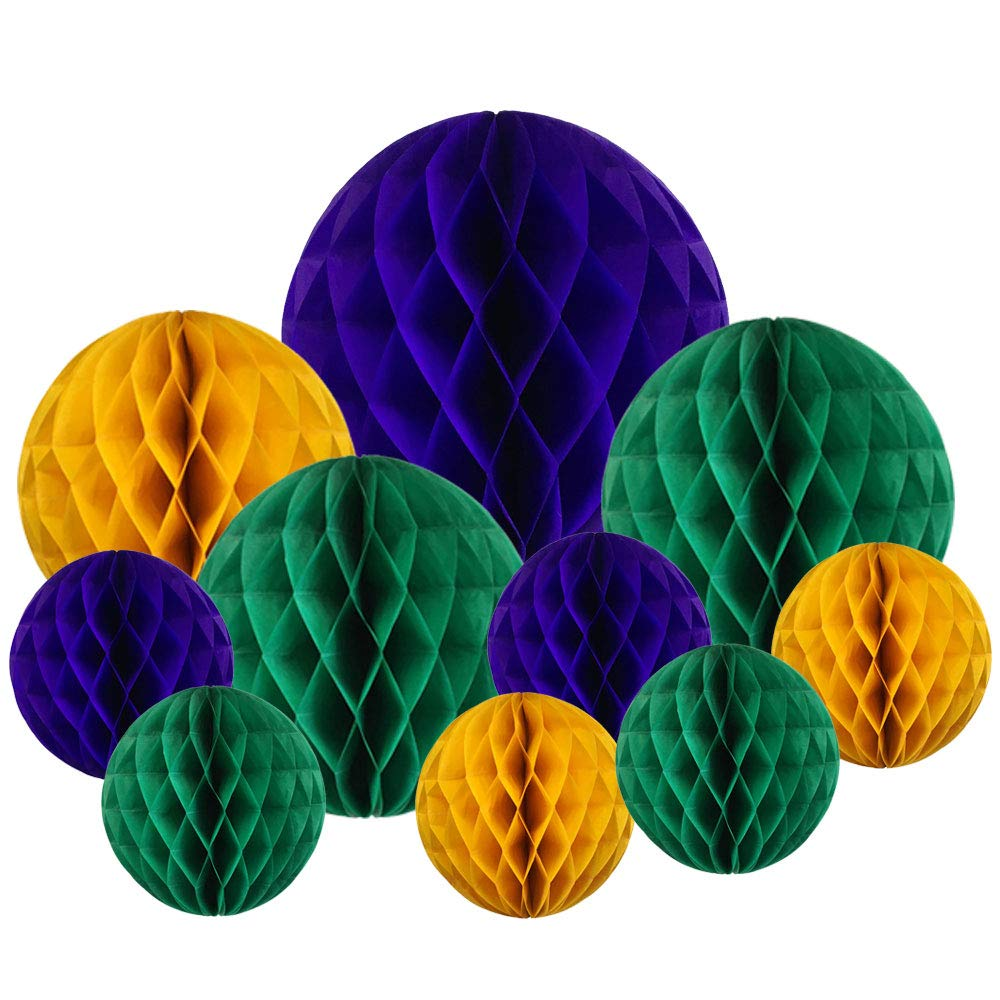Decoravtive 10pcs Assorted Honeycomb Balls (Mardi Gras) - Premier