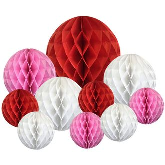 Decoravtive 10pcs Assorted Honeycomb Balls (Valentines Day) - Premier